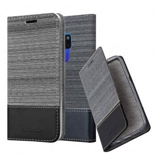 Cadorabo Hülle für Huawei MATE 20 in GRAU SCHWARZ - Handyhülle mit Magnetverschluss, Standfunktion und Kartenfach - Case Cover Schutzhülle Etui Tasche Book Klapp Style
