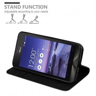 Cadorabo Hülle für Asus ZenFone 5 2014 in NACHT SCHWARZ - Handyhülle mit Magnetverschluss, Standfunktion und Kartenfach - Case Cover Schutzhülle Etui Tasche Book Klapp Style - Vorschau 5