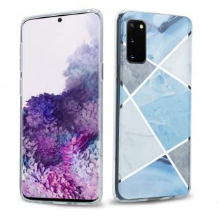 Cadorabo Hülle für Samsung Galaxy S20 Hülle in Blau weiß grau Marmor No.2 Handyhülle aus TPU Silikon mit Muster Mosaik Silikonhülle Schutzhülle Ultra Slim Back Cover Case Bumper