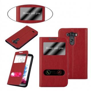 Cadorabo Hülle für LG G3 in SAFRAN ROT ? Handyhülle mit Magnetverschluss, Standfunktion und 2 Sichtfenstern ? Case Cover Schutzhülle Etui Tasche Book Klapp Style - Vorschau 3