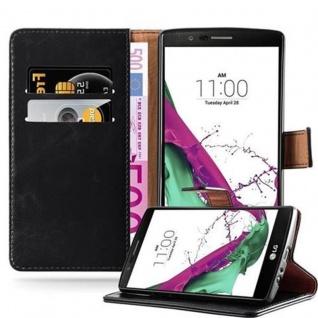Cadorabo Hülle für LG G4 / G4 PLUS in GRAPHIT SCHWARZ - Handyhülle mit Magnetverschluss, Standfunktion und Kartenfach - Case Cover Schutzhülle Etui Tasche Book Klapp Style