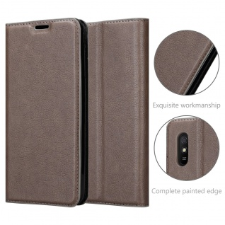Cadorabo Hülle kompatibel mit Xiaomi Redmi 9A in KAFFEE BRAUN Handyhülle mit Magnetverschluss, Standfunktion und Kartenfach Case Cover Schutzhülle Etui Tasche Book Klapp Style - Vorschau 5