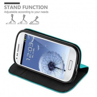 Cadorabo Hülle für Samsung Galaxy S3 MINI in PETROL TÜRKIS - Handyhülle mit Magnetverschluss, Standfunktion und Kartenfach - Case Cover Schutzhülle Etui Tasche Book Klapp Style - Vorschau 4