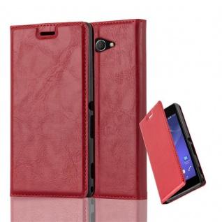 Cadorabo Hülle für Sony Xperia M2 in APFEL ROT - Handyhülle mit Magnetverschluss, Standfunktion und Kartenfach - Case Cover Schutzhülle Etui Tasche Book Klapp Style