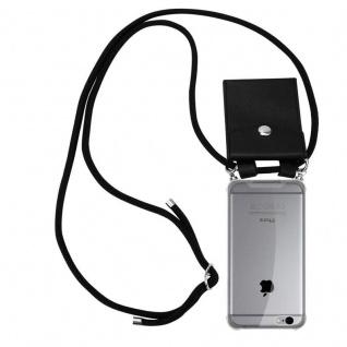 Cadorabo Handy Kette für Apple iPhone 6 PLUS / iPhone 6S PLUS in SCHWARZ Silikon Necklace Umhänge Hülle mit Silber Ringen, Kordel Band Schnur und abnehmbarem Etui Schutzhülle