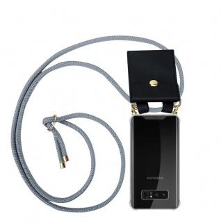 Cadorabo Handy Kette für Samsung Galaxy NOTE 8 in SILBER GRAU Silikon Necklace Umhänge Hülle mit Gold Ringen, Kordel Band Schnur und abnehmbarem Etui Schutzhülle