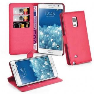 Cadorabo Hülle für Samsung Galaxy NOTE EDGE - Hülle in KARMIN ROT ? Handyhülle mit Kartenfach und Standfunktion - Case Cover Schutzhülle Etui Tasche Book Klapp Style