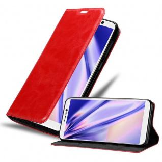 Cadorabo Hülle für WIKO Y80 in APFEL ROT Handyhülle mit Magnetverschluss, Standfunktion und Kartenfach Case Cover Schutzhülle Etui Tasche Book Klapp Style