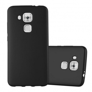 Cadorabo Hülle für Huawei NOVA PLUS - Hülle in METALLIC SCHWARZ ? Handyhülle aus TPU Silikon im Matt Metallic Design - Ultra Slim Soft Backcover Case Bumper