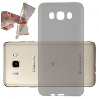 Cadorabo Hülle für Samsung Galaxy J7 2016 in TRANSPARENT SCHWARZ - Handyhülle aus flexiblem TPU Silikon - Silikonhülle Schutzhülle Ultra Slim Soft Back Cover Case Bumper