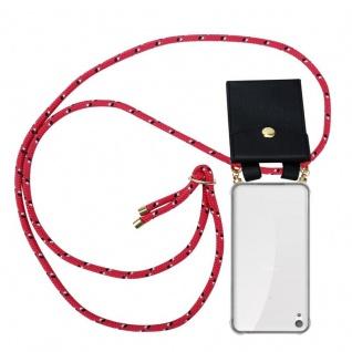 Cadorabo Handy Kette für Sony Xperia E5 in PINK SCHWARZ WEISS GEPUNKTET - Silikon Necklace Umhänge Hülle mit Gold Ringen, Kordel Band Schnur und abnehmbarem Etui ? Schutzhülle