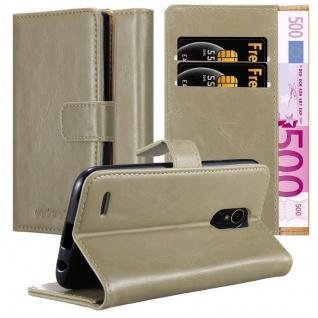 Cadorabo Hülle für LG K10 2017 in CAPPUCCINO BRAUN Handyhülle mit Magnetverschluss, Standfunktion und Kartenfach Case Cover Schutzhülle Etui Tasche Book Klapp Style