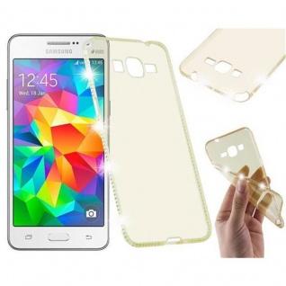 Cadorabo Hülle für Samsung Galaxy GRAND PRIME - Hülle in TRANSPARENT GOLD ? Handyhülle aus TPU Silikon im Strass Design - Silikonhülle Schutzhülle Ultra Slim Soft Back Cover Case Bumper