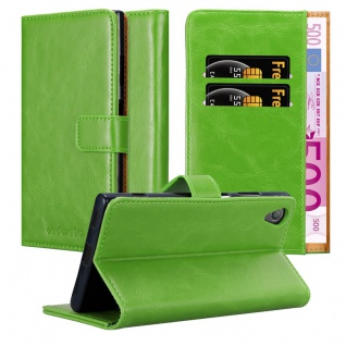 Cadorabo Hülle für Sony Xperia XA1 in GRAS GRÜN - Handyhülle mit Magnetverschluss, Standfunktion und Kartenfach - Case Cover Schutzhülle Etui Tasche Book Klapp Style