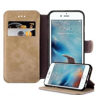 Cadorabo Hülle für Apple iPhone 6 / iPhone 6S - Hülle in MATT SAND BRAUN - Handyhülle mit Standfunktion und Kartenfach im Retro Design - Case Cover Schutzhülle Etui Tasche Book Klapp Style