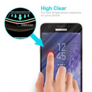 Cadorabo Vollbild Panzer Folie für Samsung Galaxy J3 2018 - Schutzfolie in TRANSPARENT mit SCHWARZ - Gehärtetes (Tempered) Display-Schutzglas in 9H Härte mit 3D Touch Kompatibilität - Vorschau 5