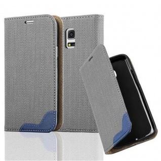 Cadorabo Hülle für Samsung Galaxy S5 MINI / S5 MINI DUOS - Hülle in GRAU BLAU - Handyhülle in Bast-Optik mit Kartenfach und Standfunktion - Case Cover Schutzhülle Etui Tasche Book Klapp Style