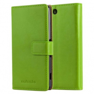 Cadorabo Hülle für Sony Xperia M5 in GRAS GRÜN ? Handyhülle mit Magnetverschluss, Standfunktion und Kartenfach ? Case Cover Schutzhülle Etui Tasche Book Klapp Style