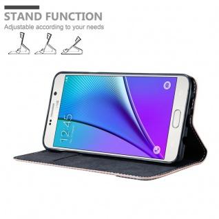 Cadorabo Hülle für Samsung Galaxy NOTE 5 in ROSÉ GOLD SCHWARZ ? Handyhülle mit Magnetverschluss, Standfunktion und Kartenfach ? Case Cover Schutzhülle Etui Tasche Book Klapp Style - Vorschau 4