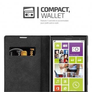 Cadorabo Hülle für Nokia Lumia 1020 in NACHT SCHWARZ - Handyhülle mit Magnetverschluss, Standfunktion und Kartenfach - Case Cover Schutzhülle Etui Tasche Book Klapp Style - Vorschau 5