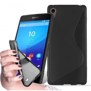 Cadorabo Hülle für Sony Xperia Z3 PLUS / Z4 - Hülle in OXID SCHWARZ ? Handyhülle aus flexiblem TPU Silikon im S-Line Design - Ultra Slim Soft Backcover Case Bumper