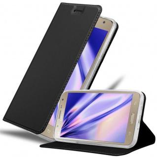 Cadorabo Hülle für Samsung Galaxy J7 2015 in CLASSY SCHWARZ - Handyhülle mit Magnetverschluss, Standfunktion und Kartenfach - Case Cover Schutzhülle Etui Tasche Book Klapp Style