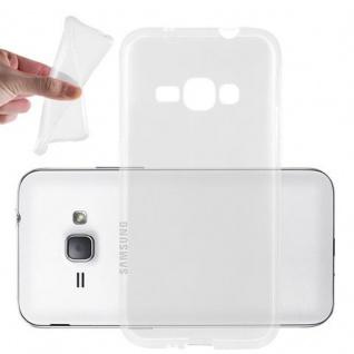 Cadorabo Hülle für Samsung Galaxy J1 2016 in VOLL TRANSPARENT Handyhülle aus flexiblem TPU Silikon Silikonhülle Schutzhülle Ultra Slim Soft Back Cover Case Bumper