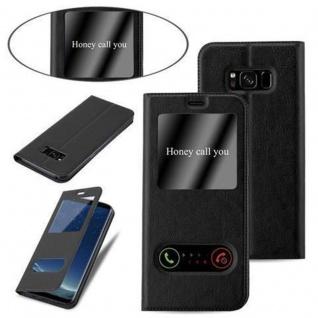 Cadorabo Hülle für Samsung Galaxy S8 in KOMETEN SCHWARZ - Handyhülle mit Magnetverschluss, Standfunktion und 2 Sichtfenstern - Case Cover Schutzhülle Etui Tasche Book Klapp Style - Vorschau 4