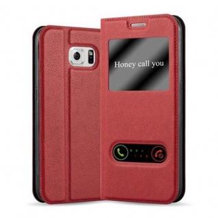 Cadorabo Hülle für Samsung Galaxy S6 in SAFRAN ROT ? Handyhülle mit Magnetverschluss, Standfunktion und 2 Sichtfenstern ? Case Cover Schutzhülle Etui Tasche Book Klapp Style