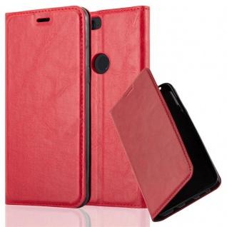 Cadorabo Hülle für OnePlus 5T in APFEL ROT Handyhülle mit Magnetverschluss, Standfunktion und Kartenfach Case Cover Schutzhülle Etui Tasche Book Klapp Style