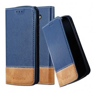 Cadorabo Hülle für LG G2 MINI in DUNKEL BLAU BRAUN - Handyhülle mit Magnetverschluss, Standfunktion und Kartenfach - Case Cover Schutzhülle Etui Tasche Book Klapp Style
