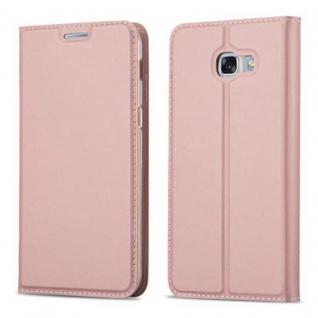 Cadorabo Hülle für Samsung Galaxy A5 2017 in CLASSY ROSÉ GOLD - Handyhülle mit Magnetverschluss, Standfunktion und Kartenfach - Case Cover Schutzhülle Etui Tasche Book Klapp Style