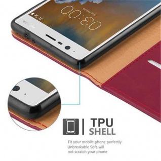 Cadorabo Hülle für Nokia 3 2017 in WEIN ROT ? Handyhülle mit Magnetverschluss, Standfunktion und Kartenfach ? Case Cover Schutzhülle Etui Tasche Book Klapp Style - Vorschau 4