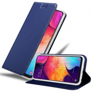 Cadorabo Hülle für Samsung Galaxy A50 in CLASSY DUNKEL BLAU - Handyhülle mit Magnetverschluss, Standfunktion und Kartenfach - Case Cover Schutzhülle Etui Tasche Book Klapp Style