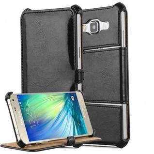 Cadorabo Hülle für Samsung Galaxy A3 2015 (5) - Hülle in PIANO SCHWARZ - Handyhülle OHNE Magnetverschluss mit Standfunktion und Eckhalterung - Hard Case Book Etui Schutzhülle Tasche Cover