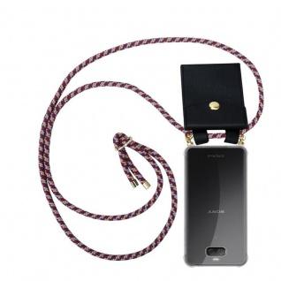 Cadorabo Handy Kette für Sony Xperia 10 in ROT GELB WEISS - Silikon Necklace Umhänge Hülle mit Gold Ringen, Kordel Band Schnur und abnehmbarem Etui ? Schutzhülle