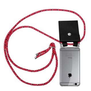 Cadorabo Handy Kette für Apple iPhone 6 PLUS / iPhone 6S PLUS in PINK SCHWARZ WEISS GEPUNKTET Silikon Necklace Umhänge Hülle mit Silber Ringen, Kordel Band Schnur und abnehmbarem Etui Schutzhülle