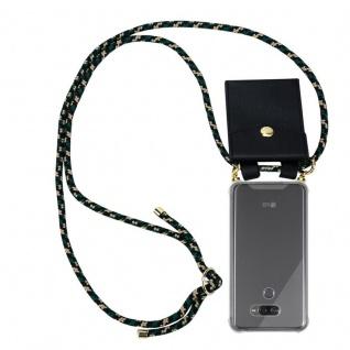 Cadorabo Handy Kette für LG K50 in CAMOUFLAGE - Silikon Necklace Umhänge Hülle mit Gold Ringen, Kordel Band Schnur und abnehmbarem Etui ? Schutzhülle