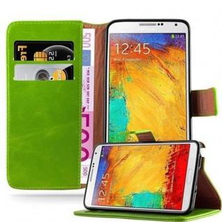 Cadorabo Hülle für Samsung Galaxy NOTE 3 in GRAS GRÜN - Handyhülle mit Magnetverschluss, Standfunktion und Kartenfach - Case Cover Schutzhülle Etui Tasche Book Klapp Style