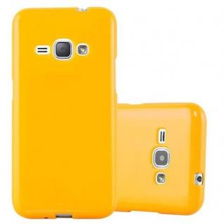 Cadorabo Hülle für Samsung Galaxy J1 2015 in JELLY GELB - Handyhülle aus flexiblem TPU Silikon - Silikonhülle Schutzhülle Ultra Slim Soft Back Cover Case Bumper
