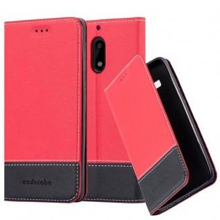 Cadorabo Hülle für Nokia 6 2017 in ROT SCHWARZ - Handyhülle mit Magnetverschluss, Standfunktion und Kartenfach - Case Cover Schutzhülle Etui Tasche Book Klapp Style
