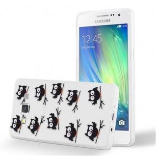 Cadorabo Hülle für Samsung Galaxy A3 2015 - Hülle im Design EULE BLACKY ? Handyhülle aus TPU Silikon mit Aufdruck - Silikonhülle Schutzhülle Ultra Slim Soft Back Cover Case Bumper