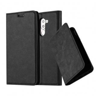 Cadorabo Hülle für Honor 6X in NACHT SCHWARZ - Handyhülle mit Magnetverschluss, Standfunktion und Kartenfach - Case Cover Schutzhülle Etui Tasche Book Klapp Style