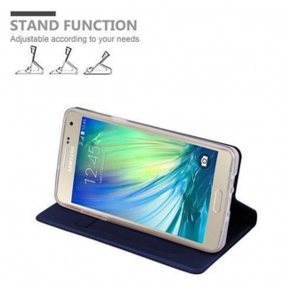 Cadorabo Hülle für Samsung Galaxy A5 2015 in CLASSY DUNKEL BLAU - Handyhülle mit Magnetverschluss, Standfunktion und Kartenfach - Case Cover Schutzhülle Etui Tasche Book Klapp Style - Vorschau 4