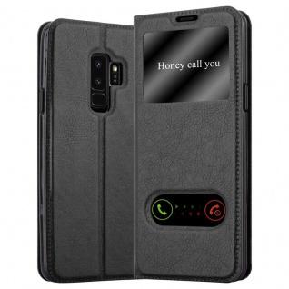 Cadorabo Hülle für Samsung Galaxy S9 PLUS in KOMETEN SCHWARZ - Handyhülle mit Magnetverschluss, Standfunktion und 2 Sichtfenstern - Case Cover Schutzhülle Etui Tasche Book Klapp Style