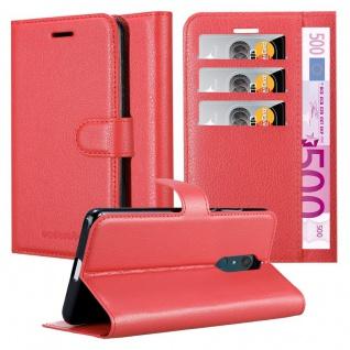 Cadorabo Hülle für WIKO VIEW XL in KARMIN ROT Handyhülle mit Magnetverschluss, Standfunktion und Kartenfach Case Cover Schutzhülle Etui Tasche Book Klapp Style