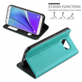 Cadorabo Hülle für Samsung Galaxy NOTE 5 in MINT TÜRKIS - Handyhülle mit Magnetverschluss, Standfunktion und 2 Sichtfenstern - Case Cover Schutzhülle Etui Tasche Book Klapp Style - Vorschau 4