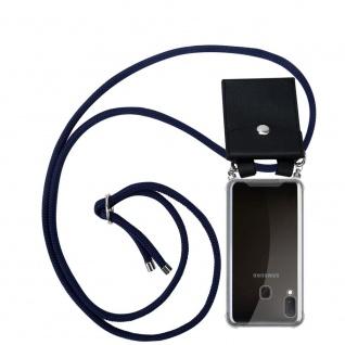 Cadorabo Handy Kette für Samsung Galaxy A20e in TIEF BLAU Silikon Necklace Umhänge Hülle mit Silber Ringen, Kordel Band Schnur und abnehmbarem Etui Schutzhülle