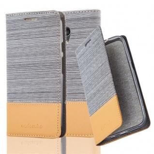 Cadorabo Hülle für Motorola MOTO G2 in HELL GRAU BRAUN - Handyhülle mit Magnetverschluss, Standfunktion und Kartenfach - Case Cover Schutzhülle Etui Tasche Book Klapp Style