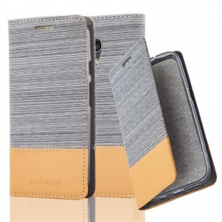 Cadorabo Hülle für Motorola MOTO G2 in HELL GRAU BRAUN Handyhülle mit Magnetverschluss, Standfunktion und Kartenfach Case Cover Schutzhülle Etui Tasche Book Klapp Style